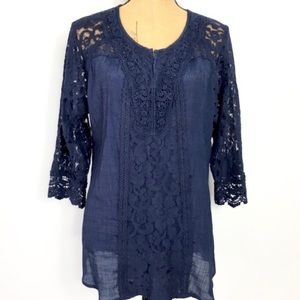 WESTPORT 1962 Blue Lace Top Sheer Tunic XL